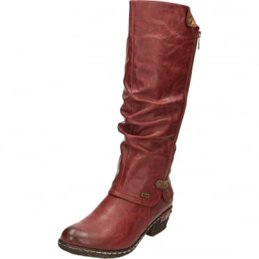 Warm Lined Knee High Shower Proof Gator Boots Red 93655-35