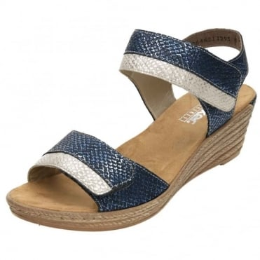 Wedge Heel Platform Slingback Open Toe Sandals 62470-14 Blue