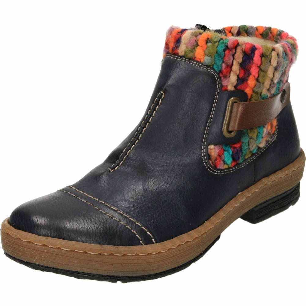 Ladies Rieker Casual Everyday Knitted Top Warn Lined Ankle Boots /'Z6784/'