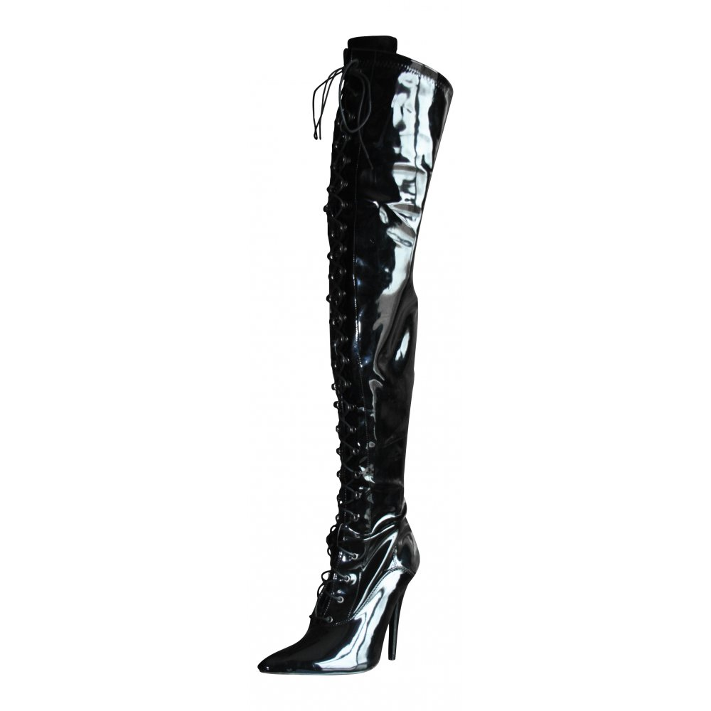77ca01adfdd4d Sexyca Mens Ladies Black Patent Boots Thigh High Heel Stiletto Point Lace Up