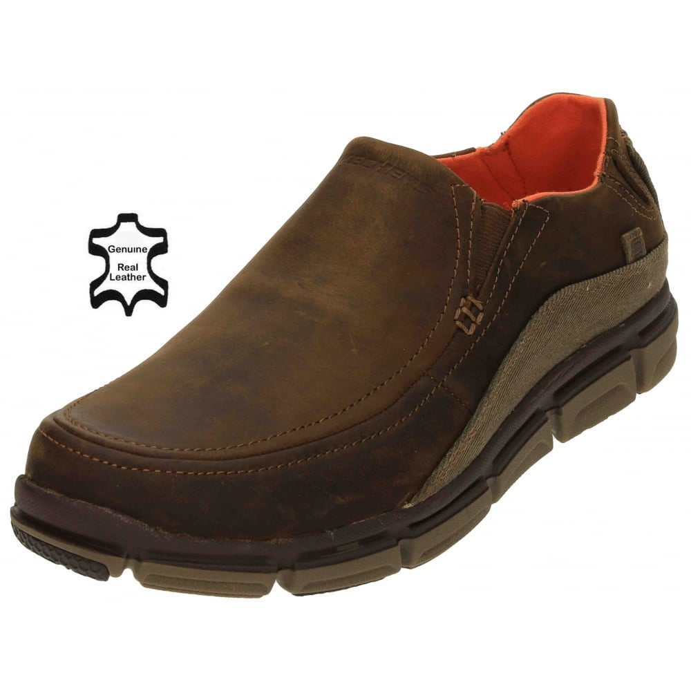 skechers relaxed fit memory foam leather
