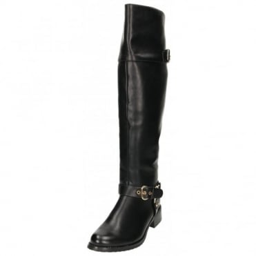 Faux Leather Flat Over The Knee High Buckle Strap Sexy Riding Boots Style