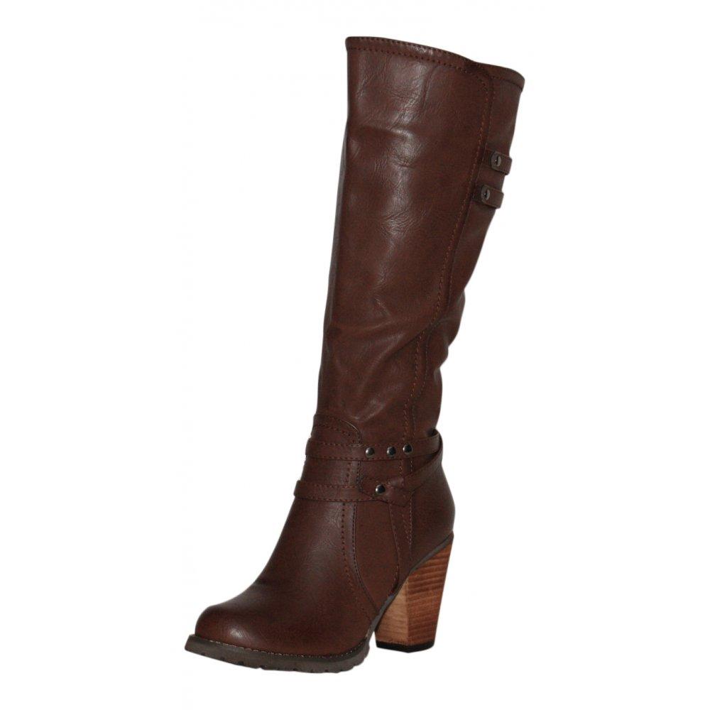SKO BY A B Ladies Dark Brown Faux Leather Knee High Heel Cowboy Boots d1d57f289840