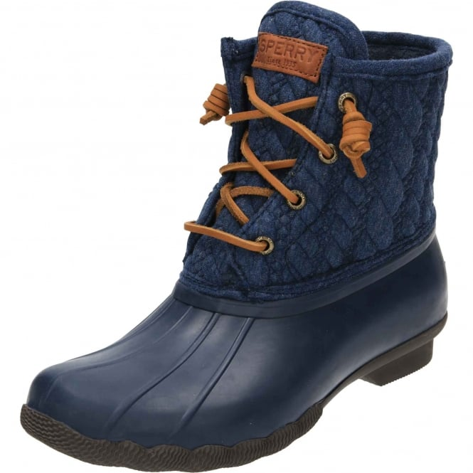 Sperry Top-Sider Saltwater Rope Rubber Quilted Wellington Ankle Boots