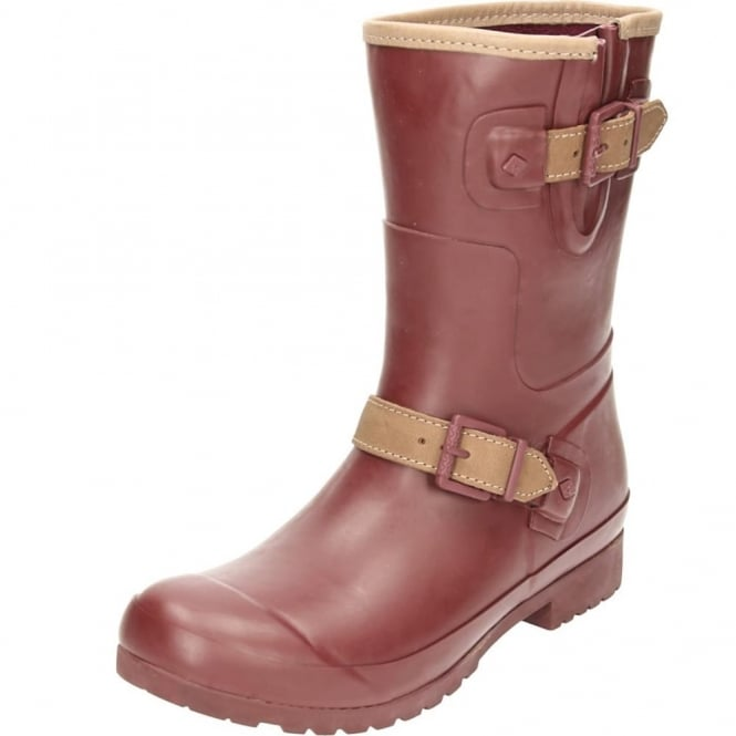 Sperry Top-Sider Walker Fog Rubber Mid Calf Wellington Boots Maroon