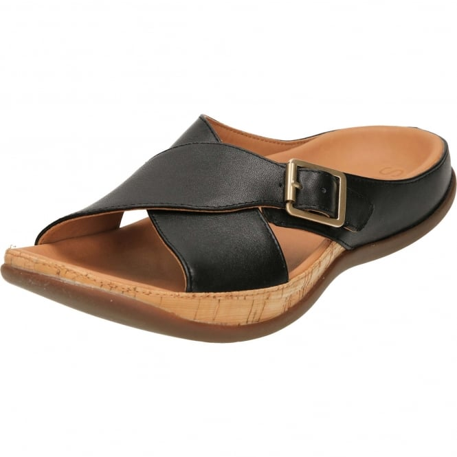 Strive Maria Buckle Leather Slip On Mules Flat Orthotic Sandals