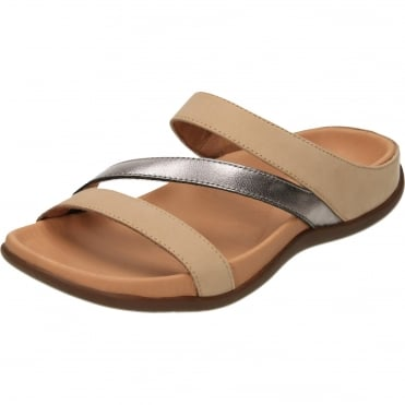 Trio Orthotic Slip On Mule Leather Flat Sandals