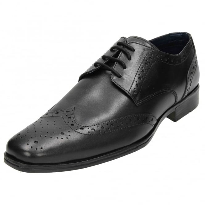Thomas Catesby Mens Real Leather Brogue Lace Up Formal Wedding Black Shoes