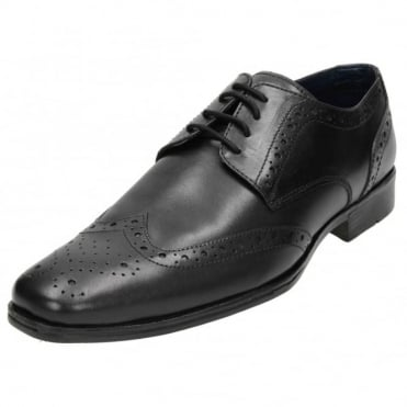 Mens Real Leather Brogue Lace Up Formal Wedding Black Shoes