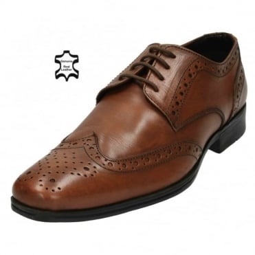 Mens Real Leather Brogue Lace Up Formal Wedding Shoes