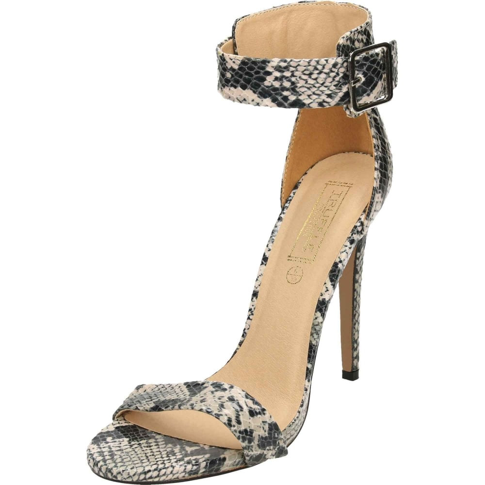df34d98560f8 Truffle Collection Ankle Strap Stiletto High Heel Peep Toe Sandals Shoes  Black Beige - Ladies Footwear from Jenny-Wren Footwear UK