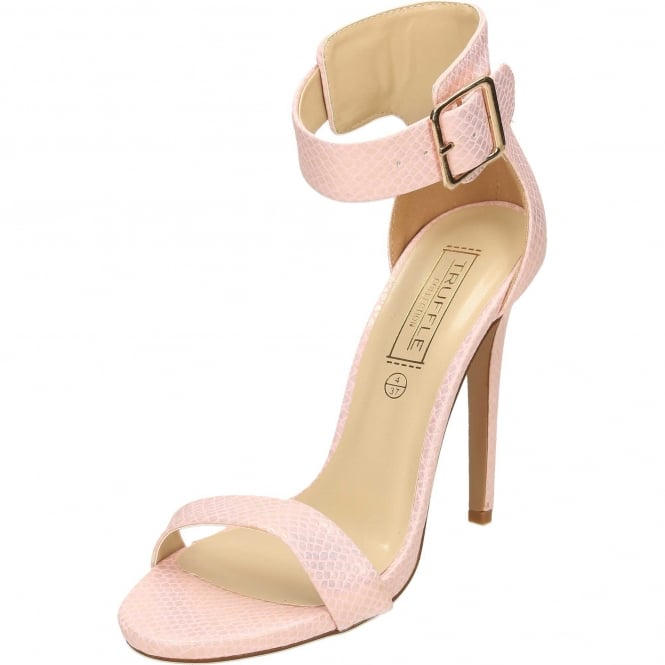 Truffle Collection Ankle Strap Stiletto High Heel Peep Toe Sandals Shoes Salmon Pink