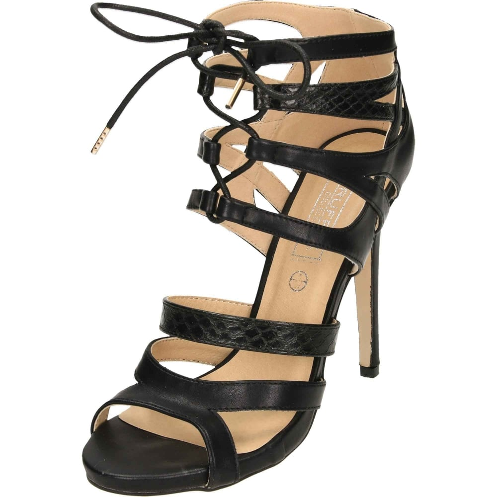 6a11124e3742 Truffle Collection Stiletto Heel Peep Toe Strappy Lace Up Sandals Shoes  Black - Ladies Footwear from Jenny-Wren Footwear UK