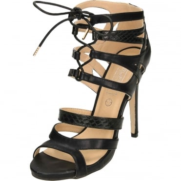 Stiletto Heel Peep Toe Strappy Lace Up Sandals Shoes Black
