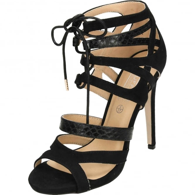 Truffle Collection Stiletto High Heel Peep Toe Strappy Lace Up Sandals Shoes Black Suede Style